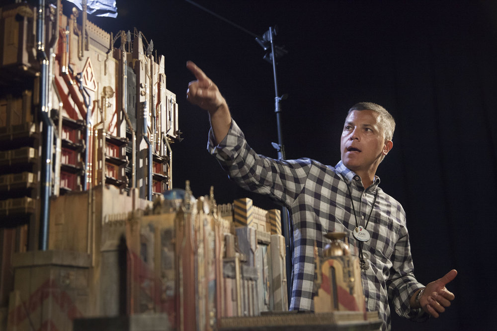 Imagineer explaining the Guardians of the Galaxy: Mission Breakout.