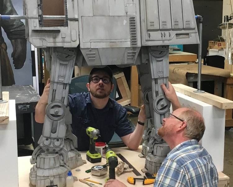 Imagineers working on a 3D model for Star Wars: Galaxy's Edge.