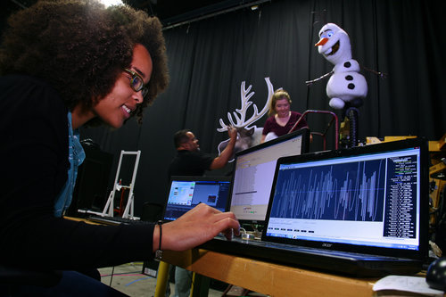 Imagineer working on Frozen animatronic figure.
