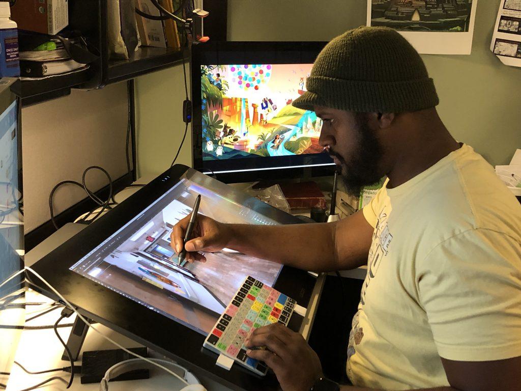 Imagineer working on murals for Children's Hospital.
