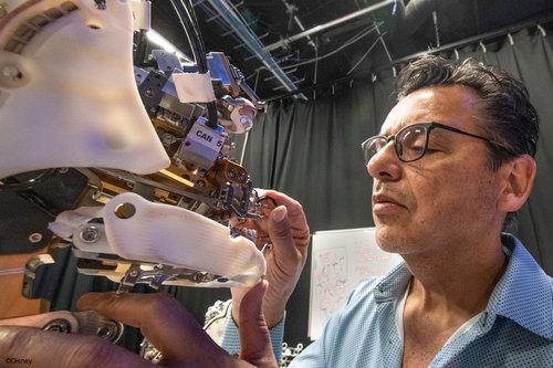 Imagineer working on Audio-Animatronic figure.