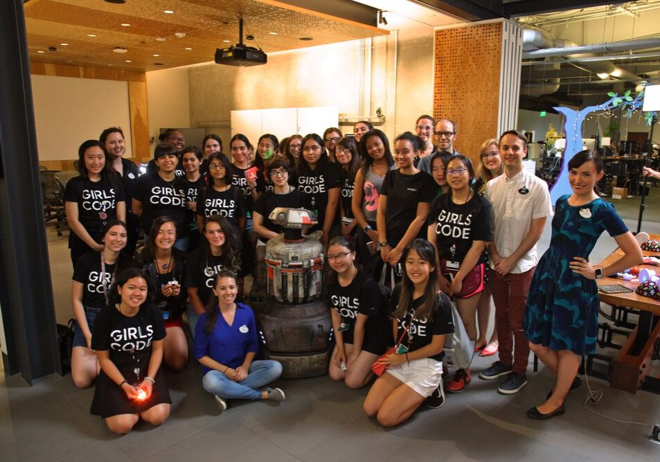 Girls Who Code program participants on a tour at Walt Disney Imagineering.