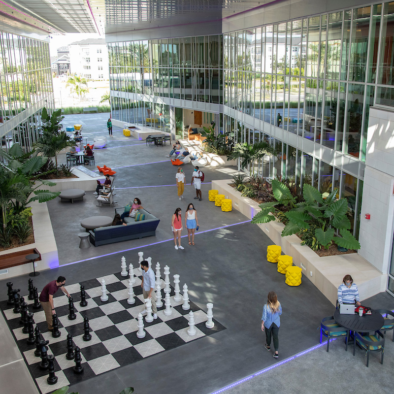 Overhead view of the atrium at the Education Center at Flamingo Crossings Village